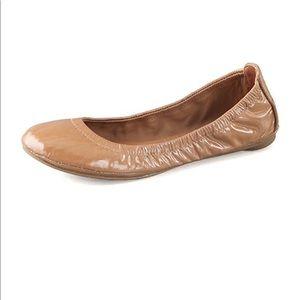 Tory Burch Eddie Patent Ballet Leather Flats  Tan